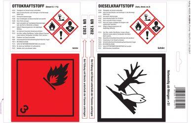 Etiquettes adhésives pour essence/diesel 25 feuilles de 4, blanc brillant, perforation Euro - Paquet de 2 unités