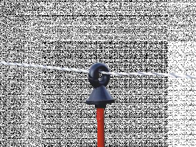 Isolateur tête, pour piquet de fer rond Ø 7mm, avec anneau en plastique