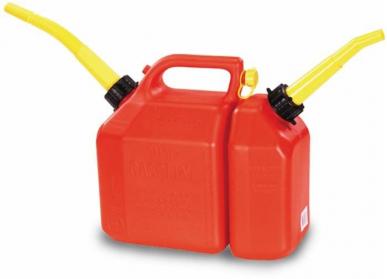 Jerricane double 5+2,5 Lt polyéthylène antichoc avec bec verseur
