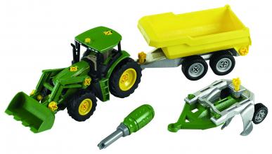 Tracteur John Deere avec remorque et charrue - Theo Klein
