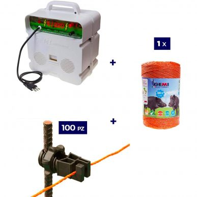 Kompletter Satz für Elektrozaun mit 1 x 220V Elektrifizierer + 1 x Draht 500 MT 6 Mm² + 100 Stück Isolatoren - für Eisenpfähle