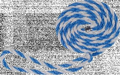 Longe de transport 320cm en polypropylen bleu/blanc avec grande boucle