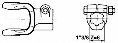 Mâchoire cannelée avec boulon 1 pouce 3/8 Z6 Catégorie 1