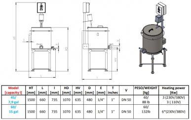 Elektrischer Mini-Pasteurisierer - 60 Liter Fassungsvermögen