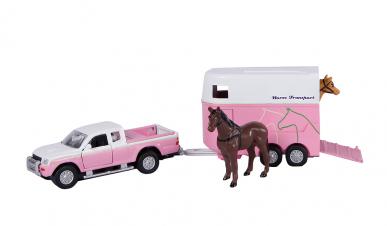 Mitsubishi L 200 avec remorque à chevaux et chevaux