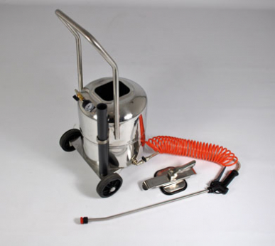 Pneumatischer Zerstäuber aus Edelstahl mit Spiralschlauch, Pistole und Lanze - Drucktank mit 24 l Fassungsvermögen - Sonderausführung mit oben zu öffnender Abdeckung