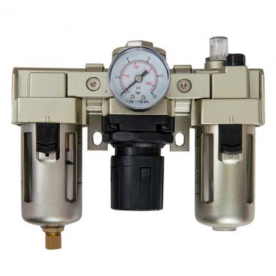 Filtre régulateur lubrificateur 3 blocs avec manomètre et fixation 1/4