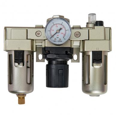 Filtre régulateur lubrificateur 3 blocs avec manomètre et fixation 3/8