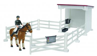 Petit enclos à cheval avec cavalière et accessoires