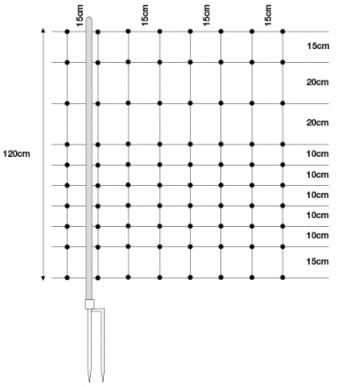 Netze, horinetz, 120cm, 50m*, Ersatzpfahl Doppelspitze