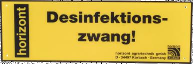 """Plaque de signalistaion """"Desinfektionszwang"""" 30x10cm, jaune"""