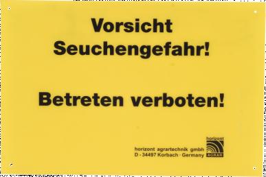 """Plaque de signalistaion """"Seuchengefahr"""" 30x20cm, jaune"""