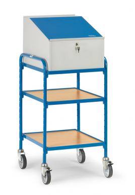 Pupitre roulant  Charge 150 kg - 2 plateaux - 1 caisson écritoire