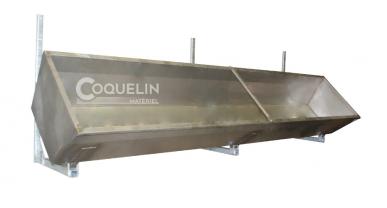 Rallonge d'auge inox 1m avec supports muraux galvanisés