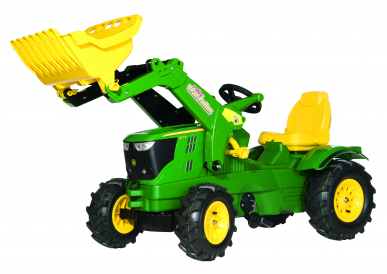 Tracteur RollyFarmtrac JD 6210R avec Pneus souples + chargeur ROLLY TOYS