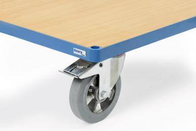 Roues de chariot à bandage    caoutchouc élastique bleu gris non traçant