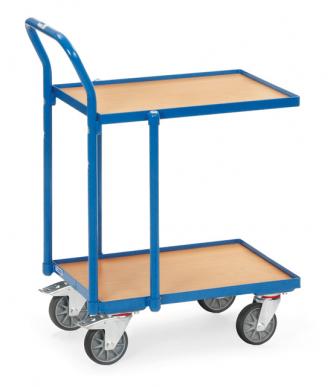 Rouleur à plateaux  Charge 250kg - Bleu - Dossier de poussée - 1 plateau