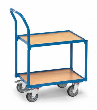 Rouleur à plateaux  Charge 250kg - Bleu - Dossier de poussée - Avec rebord