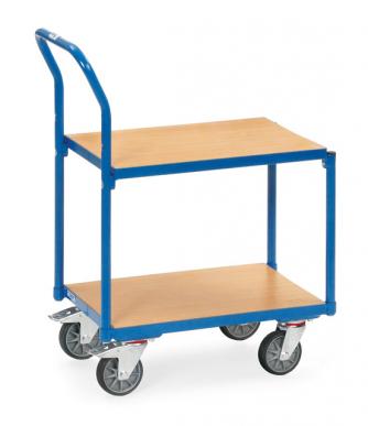 Rouleur à plateaux  Charge 250kg - Bleu - Dossier de poussée - Sans rebord