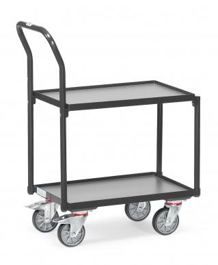 Rouleur à plateaux  Charge 250kg - Gris - Dossier de poussée - Avec rebord