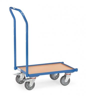 Rouleur de bacs  Charge 250kg - Avec plateau - Avec rebord - Dossier de poussée