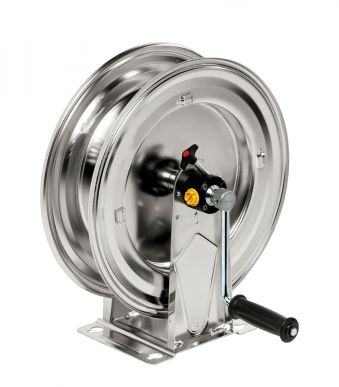 Enrouleur de tuyau HM 400, acier inoxydable, 20bar/ 90°C, tuyau max. 15m - 20mm