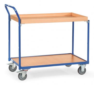 Servante  Charge 300 kg  - 1 plateau  - 1 caissette - Barre de poussée verticale
