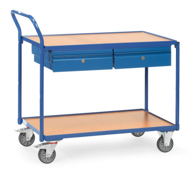 Servante  Charge 300 kg  - 2 plateaux - 2 tiroirs - Barre de poussée