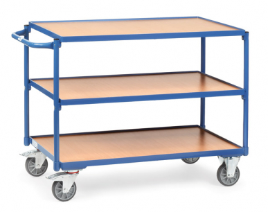 Servante  Charge 300 kg  - 3 plateaux  - Barre de poussée horizontale