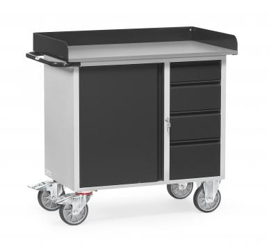 Servante  Charge 400kg - 1 placard - 4 tiroirs - Avec rebord