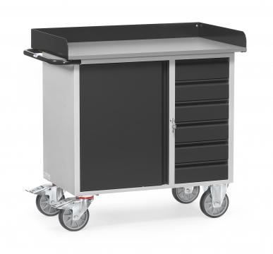 Servante  Charge 400kg - 1 placard - 6 tiroirs - Avec rebord