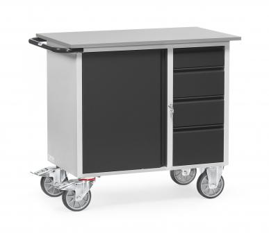 Servante d'atelier  Charge 400kg - 1 placard - 4 tiroirs