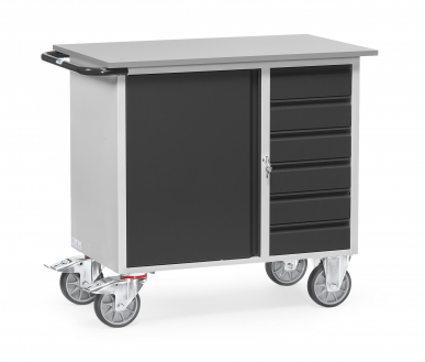Servante d'atelier  Charge 400kg - 1 placard - 6 tiroirs