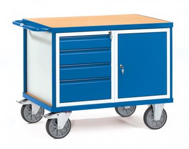 Servante d'atelier  Charge 600kg - 1 placard - 4 tiroirs