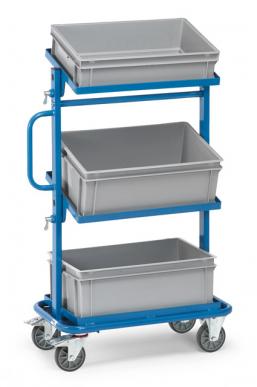 Servante pour bacs plastiques  Charge 200kg - 3 plateaux inclinables avec bacs