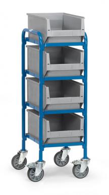 Servante pour bacs plastiques  Charge 250kg - 4 plateaux et 4 bacs plastiques