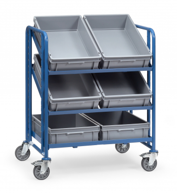 Servante pour bacs plastiques  Charge 250kg - Avec 3x2 bacs