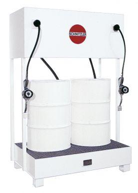 Système d'alimentation en huile pour fûts avec enrouleurs de tuyaux flexibles
