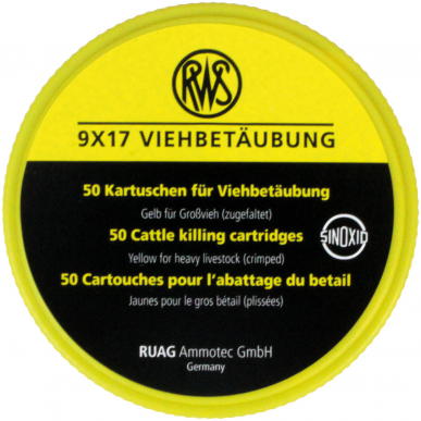 Cartouches dérivantes jaunes, 9 x 17mm