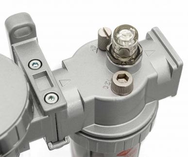 """Filtre régulateur lubrificateur 3 blocs avec manomètre et fixation 1/2"""" HD"""