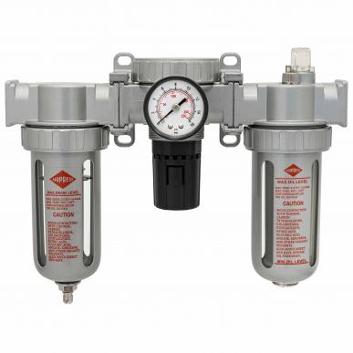 """Filtre régulateur lubrificateur 3 blocs avec manomètre et fixation 1/4"""" HD"""