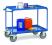 Chariot à plateaux Tôlés avec rebord - Bleu - 2 plateaux - Poussée horizontale